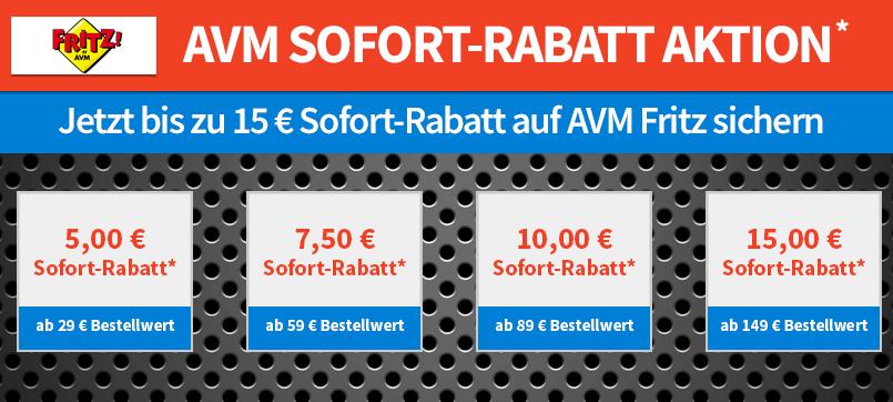 Bis zu 15€ Rabatt auf AVM Geräte